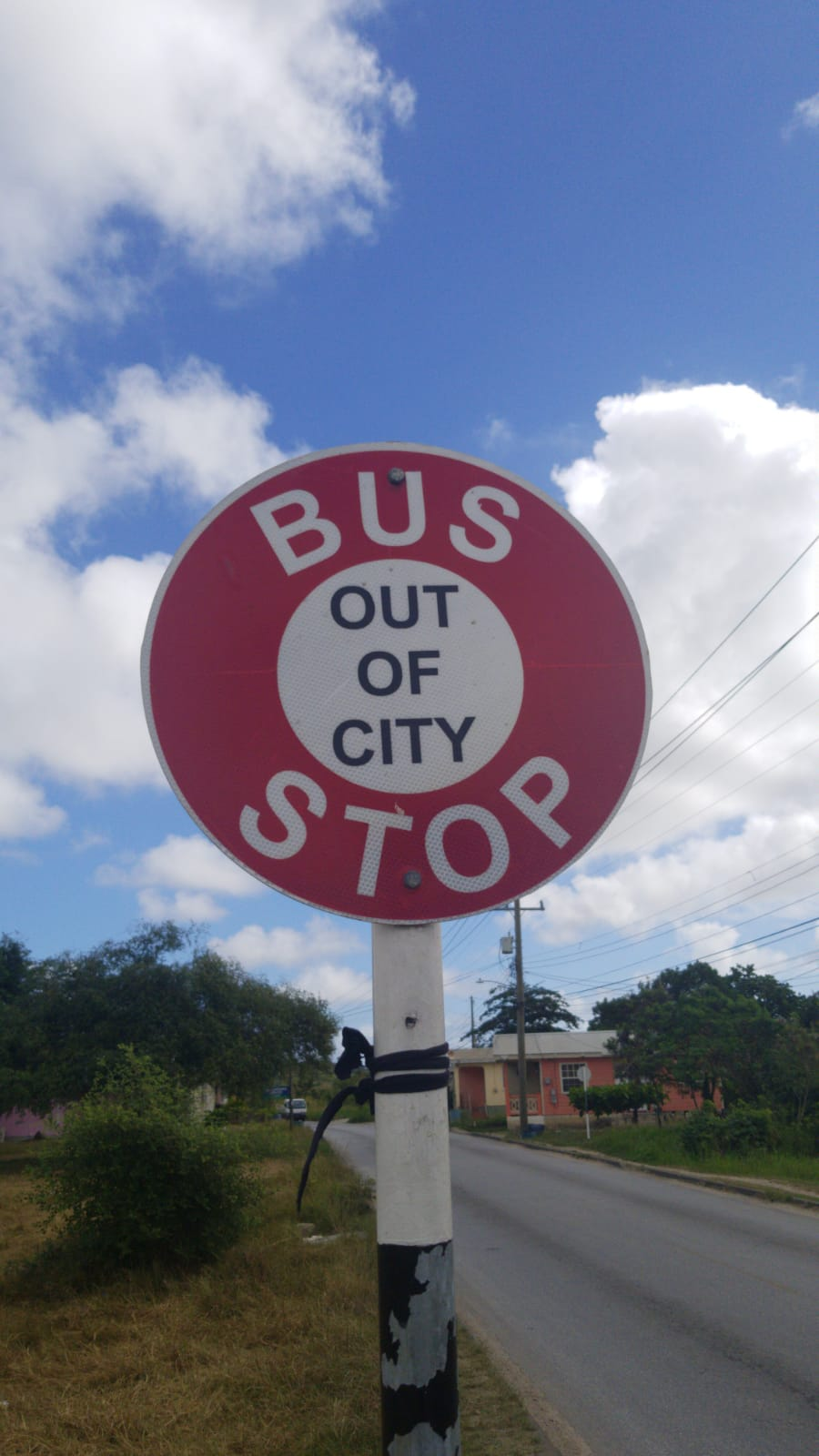 Out of City bus stop sign in barbados