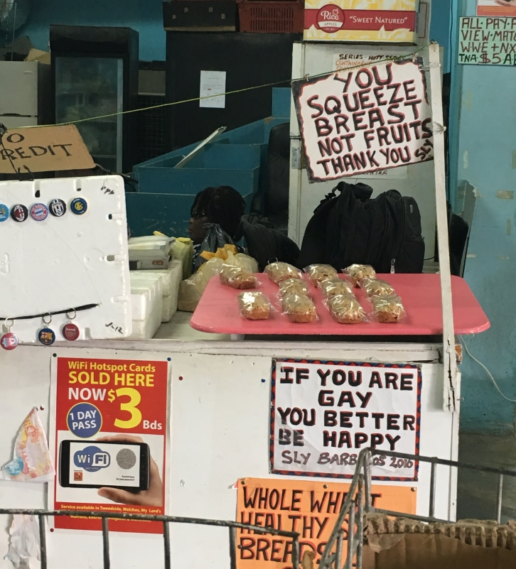 Street Vendor Sign at the Ministry of Agricultural Market in Bridgetown, Barbados