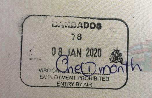 Barbados Visa Stamp on a Passport