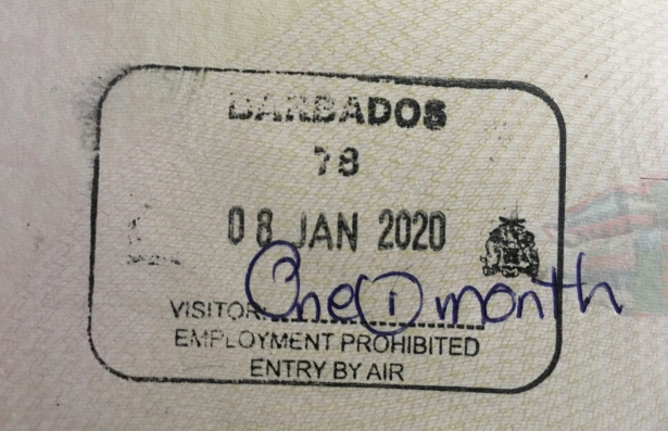Barbados Visa Stamp on a Passport