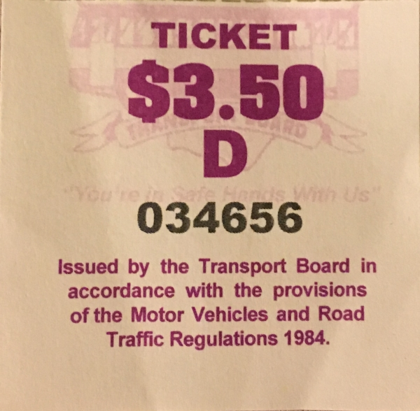 Bus ticket in Barbados for the price of B$3.50