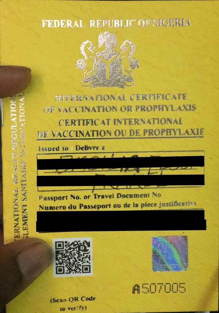 yellow fever vaccination card Nigeria