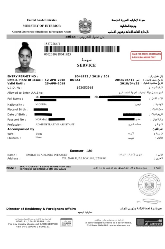 sample of a dubai visa for nigerian citizen
