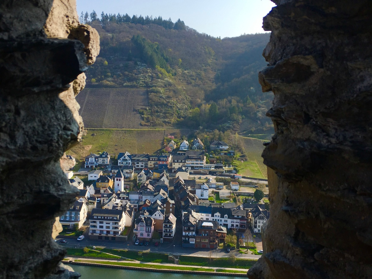 overlooking the town of cochem in germany through the cochem castle window