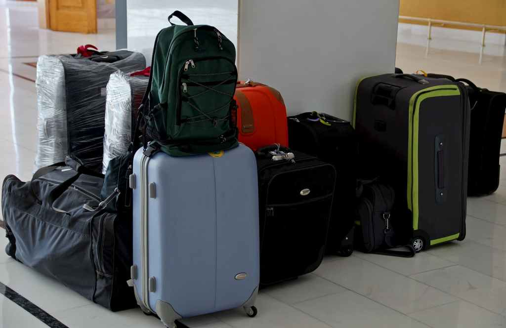 many luggages at the airport