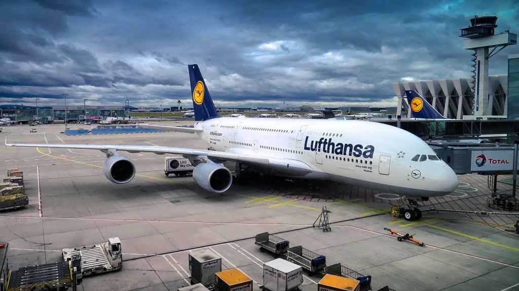 lufthansa airplane at airport