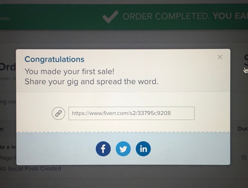 Congratulations message for First sale made on Fiverr